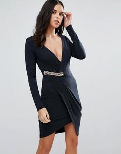 Платье с длинными рукавами и запахом Jessica Wright - Черный