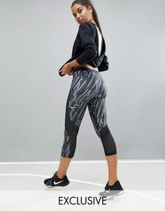 Леггинсы капри с принтом Nike Pro Training Hypercool - Черный