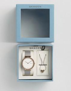Часы с сетчатым ремешком и подвеска с сердечком Skagen - Серебряный