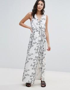 Платье макси с принтом Neon Rose - Белый