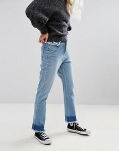 Джинсы в винтажном стиле с бахромой по краю Neon Rose - Синий
