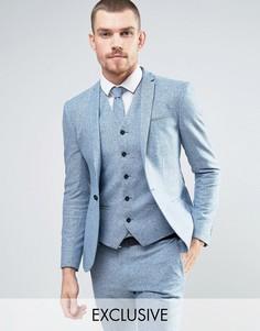Супероблегающий шерстяной пиджак в крапинку Noak - Синий