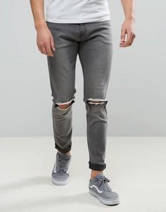 Темно-серые узкие джинсы с рваной отделкой на коленях Liquor & Poker - Серый