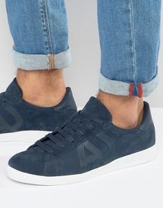 Темно-синие замшевые кроссовки с логотипом Armani Jeans - Темно-синий