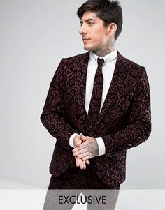 Супероблегающий пиджак с цветочной набивкой флок Noose & Monkey - Красный