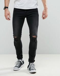 Черные выбеленные джинсы скинни Liquor & Poker - Черный