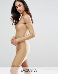 Платье миди с горловиной-чокер и открытыми плечами NaaNaa - Золотой