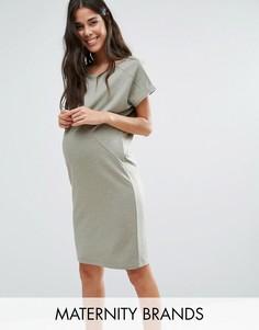 Трикотажное платье с короткими рукавами Mamalicious - Stone Mama.Licious