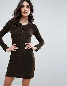 Облегающее платье на шнуровке спереди Jovonna - Золотой