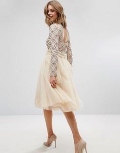 Юбка из тюля с присборенной талией Lace & Beads - Кремовый