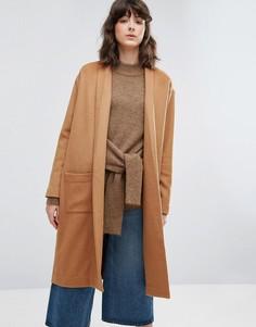 Трикотажное пальто без застежек Weekday - Бежевый