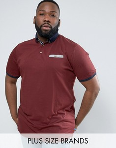 Бордовая меланжевая футболка‑поло с контрастным воротником Duke PLUS - Красный