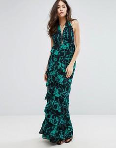 Платье макси с принтом и рюшами PrettyLittleThing - Мульти