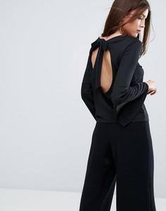 Топ с открытой спиной и расклешенными рукавами Boohoo - Черный