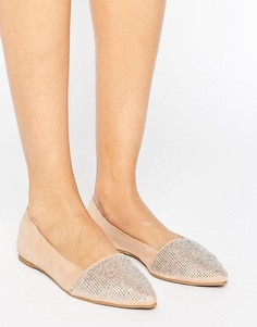 Остроносые туфли на плоской подошве с блестками Little Mistress - Бежевый