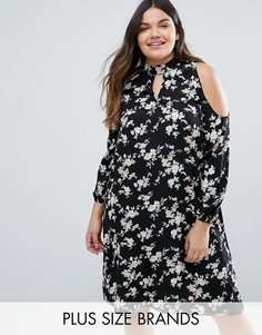 Платье с цветочным принтом и вырезами на плечах Boohoo Plus - Мульти