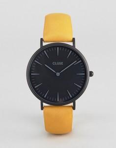Часы с черным циферблатом и горчичным кожаным ремешком Cluse La Boheme - Желтый