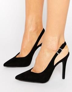 Туфли на каблуке из искусственной замши с ремешком через пятку New Look - Черный