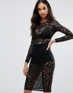 Платье-футляр из прозрачного кружева Misha Collection - Черный