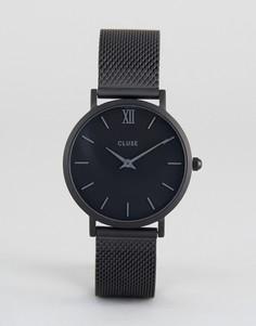 Черные часы с сетчатым ремешком Cluse Minuit - Черный