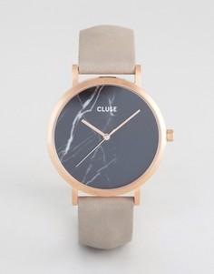 Часы с черным мраморным циферблатом и золотисто-розовым ремешком Cluse La Roche - Серый