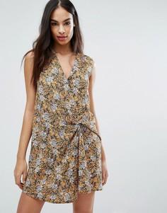 Платье мини с цветочным принтом и узлом спереди Missguided - Мульти