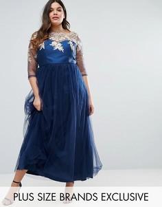Платье макси с кружевным лифом и тюлевой юбкой Chi Chi London Plus - Темно-синий