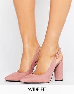Туфли-лодочки на каблуке с ремешком через пятку New Look - Розовый