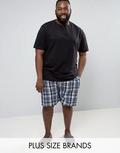 Пижама с черной футболкой и клетчатыми шортами Duke PLUS - Черный