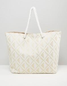 Пляжная сумка с золотистым геометрическим принтом South Beach - Золотой