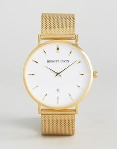 Часы с белым циферблатом и золотистым браслетом Abbott Lyon Kensington 40 - Золотой