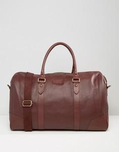 Бордовая структурированная кожаная сумка Barneys - Коричневый Barneys Originals