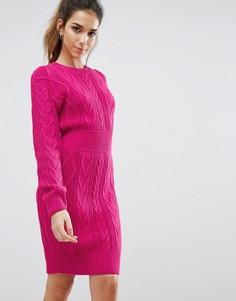 Вязаное платье-джемпер с узором косичка Boohoo - Желтый