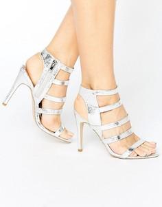 Босоножки на каблуке с эффектом металлик New Look - Серебряный