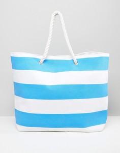 Пляжная сумка в ярко-голубую полоску South Beach - Синий