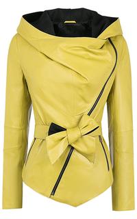 Желтая кожаная куртка с капюшоном La Reine Blanche