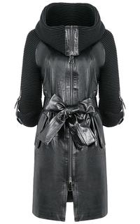 Пальто из натуральной кожи и трикотажа La Reine Blanche