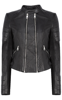 Кожаная куртка с рельефной отстрочкой La Reine Blanche