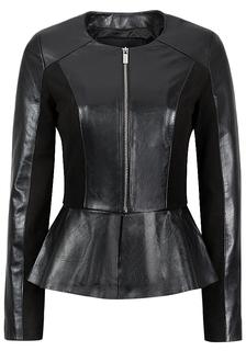 Кожаная куртка с баской La Reine Blanche