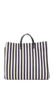 Простая объемная сумка с короткими ручками из холщовой ткани Clare V.