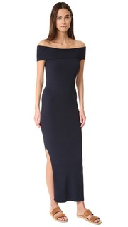 Макси-платье с открытыми плечами и рубчиком 525 America