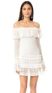 Ажурное мини-платье с длинными рукавами и оборками Jonathan Simkhai