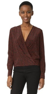 Блуза с драпировкой спереди и длинными рукавами Diane von Furstenberg