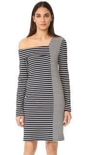 Платье в полоску с открытым плечом Edition10