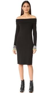 Платье в рубчик с приспущенными плечами Edition10