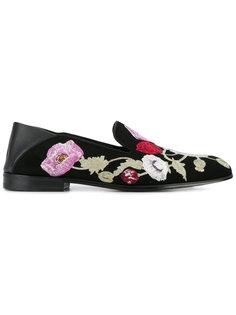 слиперы с цветочной вышивкой Alexander McQueen