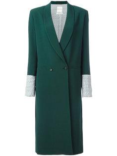 двубортное пальто с контрастными манжетами Each X Other