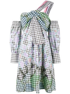 one-shoulder diamond print gingham dress  Peter Pilotto