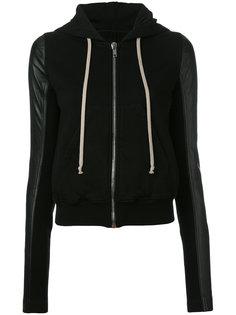 leather sleeve hoodie Rick Owens DRKSHDW