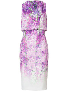 orchid print sleeveless dress Badgley Mischka